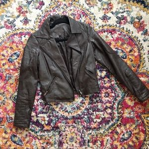 Jou jou brown faux leather moto jacket